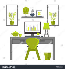 zen home office. Flat Design Of Zen Home Office Layout. Relaxing Work Environment.