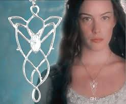 whole argent alloy lord of the rings hobbit elf genius princess arwen evenstar necklace evening star pendant imitation zircon necklace girl x066 silver