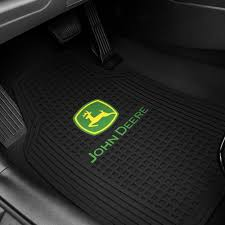 plasticolor 1st row black rubber floor mats with john deere logo