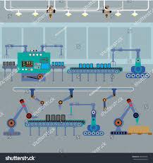 Assembly Line Design Production Process On Line Conveyorrobotic Assembly Stock