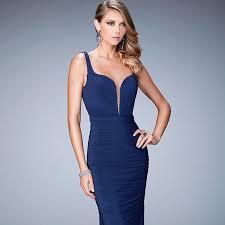 Long Ruched Sweetheart La Femme Dress Lf 22475