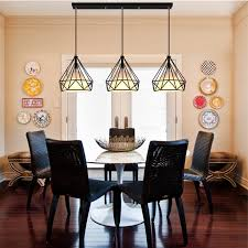 industrial dining room lighting. retro industrial style one combo 3pcs led drop light diamond shape white coffe lamp shade pendant with long canopy hangin lights from dining room lighting