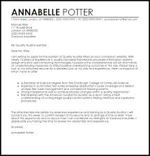 Gallery Of Quality Auditor Cover Letter Sample Livecareer Qa Cover