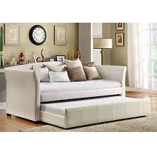 white leather daybed. Plain Leather Faux Leather Daybed With RollOut Trundle White Throughout