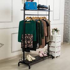 Coat Stand And Shoe Rack Metal Vintage Clothes Garment Hanging Rail Rack Hat Coat Stand Shoe 95