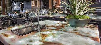 onyx illuminated countertop in kitchen