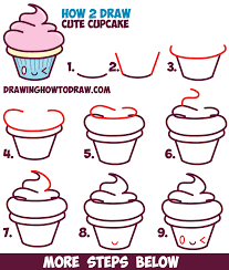 cute cupcake drawing. Modren Drawing How To Draw Cute Kawaii Cupcake With Face On It  Easy Step By Drawing With E