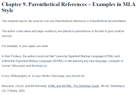how to write mla citation parenthetical references examples in mla style a research guide