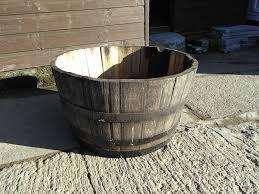 half oak barrel garden planter 30 ia for patio decking or balcony suit