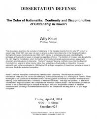 "hawaiian nationality"" dissertation defense willy kauai ph d  kauai defense"