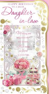 Daughter In Law Birthday Card Happy Birthday Cakes Flowers