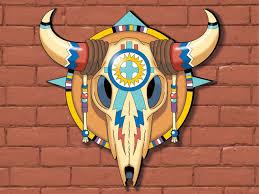steer skull yard art pattern has great southwestern style