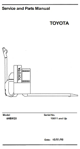 toyota electric forklift truck 5fbe10 5fbe13 5fbe15 5fbe18 original illustrated factory workshop service manual for toyota electric pallet truck type 6hbw original factory