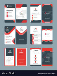 Vertical Double Sided Business Card Templates Vector Image