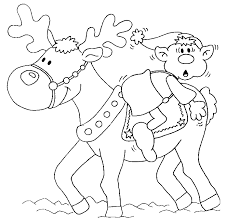 Small Picture Coloring Pages Of Reindeer Santa Riding Reindeer Coloring Page