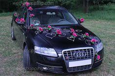 Wedding Car Decorations Accessories Wedding Car Decor Mauve Roses with Rattan Hearts от BridalJackets 100