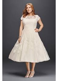 oleg cassini cap sleeve tea length wedding dress david s bridal