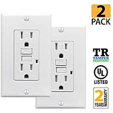 leviton gfnt1 i self test smartlockpro slim gfci non tamper procuru 2 pack 15a tamper resistant gfci receptacle outlet led indicator wall plate and screws white ul listed 2 pack