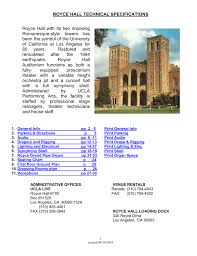 Royce Hall Detailed Seating Chart Royce Hall Technical Specifications Manualzz Com