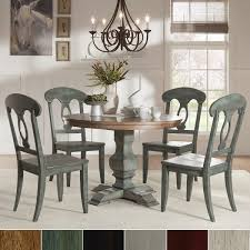 eleanor sage green round solid wood top napoleon back 5 piece dining set by inspire