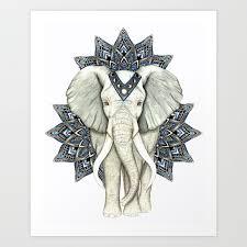 Zen Elephant Mandala Art Print By Brilazar