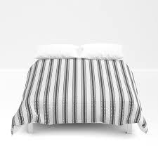 black and white english rose trellis in mattress ticking stripe duvet cover by podartist society6