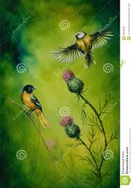 beautiful oil painting on canvas of a pair of birds flatteri multicolor ilration