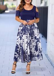 Modlily Size Chart Cold Shoulder Round Neck Printed Plus Size Dress Modlily Com Usd 31 99