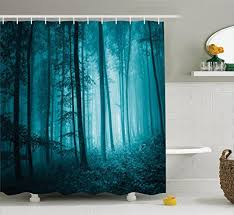 dark teal shower curtain. mystic house decor shower curtain set by ambesonne, magic foggy dark forest foliage landscape countryside monochromic artwork, bathroom accessories, teal e