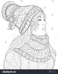 Adult Coloring Pagebook A Cute Girl Wearing Scarf And Capzen Art