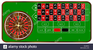 a typical american roulette table layout over a white background stock image