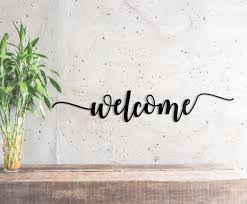 word metal sign welcome wall art
