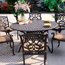 cast aluminum patio dining table inside darlee santa monica 7 piece set round prepare 10