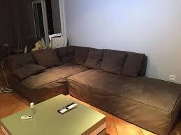 large chocolate leather sofa saint martin 0