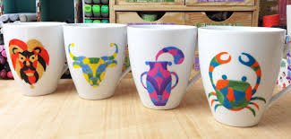 Have fun experimenting and learning to use porcelain paints and create your  own custom zodiac sign coffee (or tea) mug.