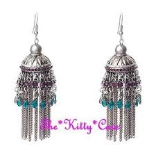 antique silver ethnic indian purple teal crystal chandelier bollywood earrings