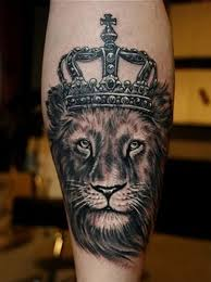 lioness with crown tattoo. Plain With Black And Grey Lioness With Crown Tattoo On Leg E