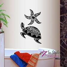 vinyl decal sea turtle and star fish