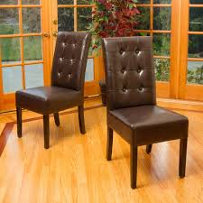 Brown Leather Dining Room Chairs Tufted Leather Dining Chair Dining Room Traditional With Beige Rug