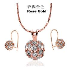 ls166 fashion rose gold color crystal pave ball pendant necklace dangle drop earring women crystal stone jewelry sets in jewelry sets from jewelry
