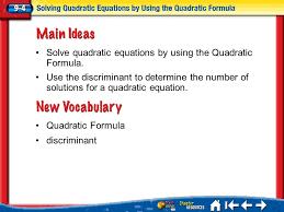 2 lesson 4 mi vocab quadratic formula discriminant solve