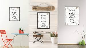 your vibe attracts your tribe inspirational quote saying framed canvas print gift ideas home decor wall on quote wall art frames with your vibe attracts your tribe inspirational motivation saying quote