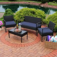 Details about sunnydaze anadia 4 piece black rattan patio furniture with dark blue cushions