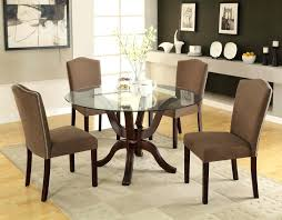 tables goodly design round glass dining table dark brown color wooden base frame shape top rovigo large glass chrome dining room table and 4 chairs set
