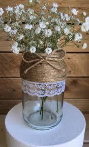 15 x Glass Jars Vintage Vases Wedding Centrepiece Shabby Chic Hessian Lace  Twine