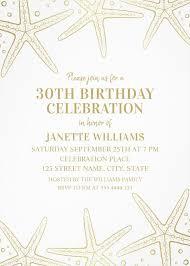 nautical 30th birthday invitations golden starfish invite templates