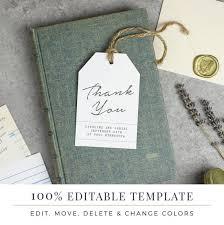 Hang Tag Template Inspiration Wedding Favor Tag Template Printable Hang Tags Word Or Etsy