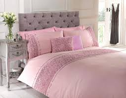 pink single duvet quilt cover bed set bedding raised rose ribbon polycotton by homespace direct co uk kitchen home