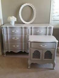 grey and white bedroom furniture. Vintage Painted Grey And White French Provincial Dresser Nightstand Bedroom Furniture E