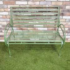 vintage green metal park bench metal